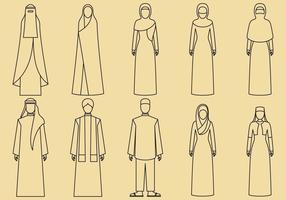 Midden-Oosten Kleding Pictogrammen vector