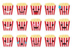 Popcorn box emoticons vector