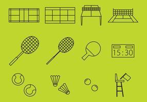 Racket sport lijn iconen vector