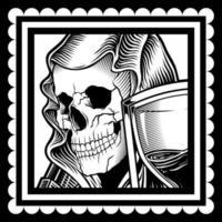 schedel die een sluier draagt