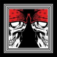 dubbele schedel met rode bandana's