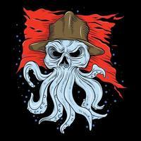 octopus schedel hand tekenen vector