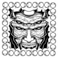 hooded demon-achtig gezicht