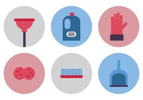 Platte Spring Cleaning Icons vector