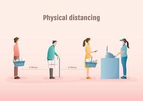 mensen fysieke afstand nemen terwijl ze in de rij staan in de winkel