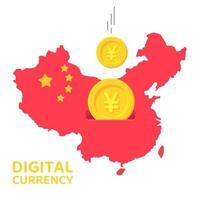 China kaart met munten vallen als een spaarvarken