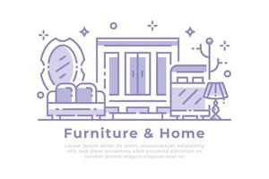 meubilair en huis lineair ontwerp vector