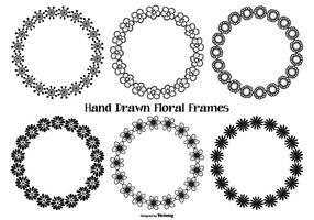 Hand getekende stijl bloemenframes vector