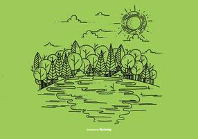 Outdoor River Scene Vector Achtergrond