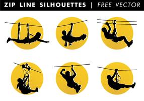 Zip line silhouetten vrije vector