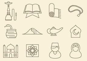 Lijn Icons in het Midden-Oosten vector