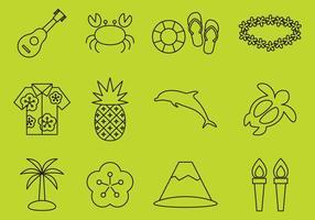 Hawaiiaanse lijnpictogrammen vector