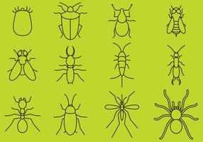 Bugs lijn iconen