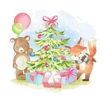 dierenvrienden met kerstboom en geschenken