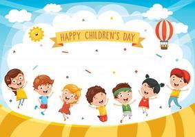 gelukkig kinderdagontwerp met spelende kinderen