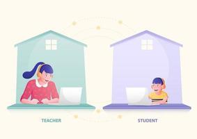lesgeven en leren op afstand vanuit huis concept