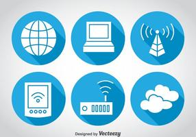 Internet blauwe cirkel iconen vector