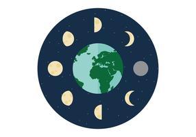 Maanfasen rond de Aarde vector