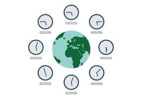 Vector Wereld Met Time Zone Clocks
