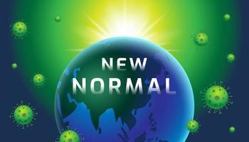 nieuwe normale tekst op gloeiende planeet met viruscellen