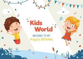 kinderen springen buiten verjaardagssjabloon vector