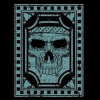 blauwe grunge stijl schedel gezicht met hoektanden vector