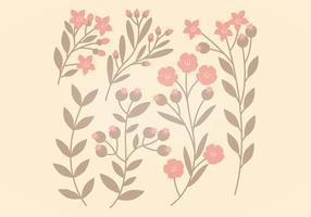 Roze en Bruine Vector Bloemen Set