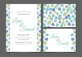 Vector Blauw Bloemen Huwelijk Uitnodigen