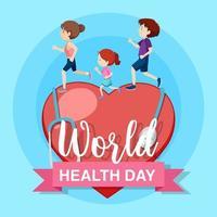 Wereldgezondheidsdag met lopende mensen vector