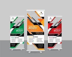 fitness kleurrijke sportschool roll-up stand banner set vector