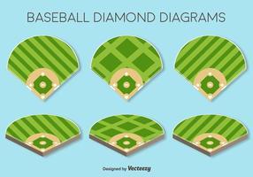 Vector Set Van Baseball Fields Elements