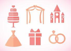 Bruiloft Roze Pictogrammen vector