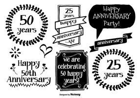 Handgetekende anniversary labels vector