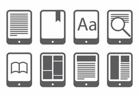 E reader icon set vector