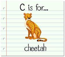 flashcard letter c is voor cheetah vector