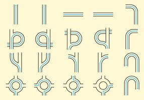 Weglijn iconen vector
