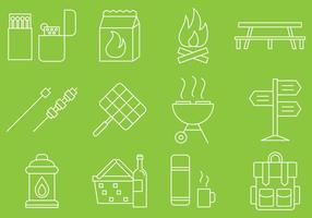 Pictogrammen voor picknicklijnen vector