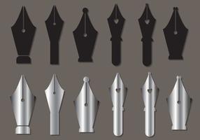 Pen nib vector set