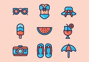 Strand dag pictogram set vector