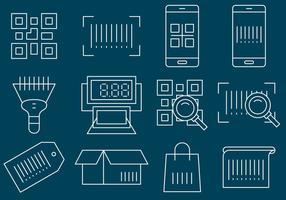 Barcode lijn iconen vector
