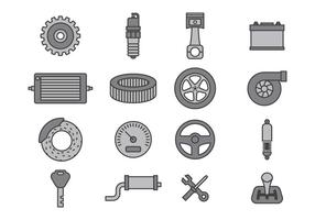 Auto Mechanic Icon Set vector