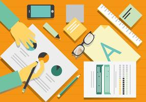 Gratis Vector Designers Desk Illustratie