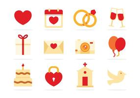 Gratis bruiloft flat pictogrammen