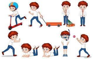 set van jongen met rood haar verschillende activiteiten doen vector