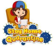 blijf thuis quarantaine ontwerp met kind zittend op een stoel