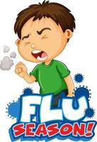 griepseizoen met zieke jongen hoesten