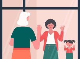 grootmoeder blaast kussen door raam naar familie vector