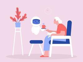 robot serveert koffie aan senior vrouw vector