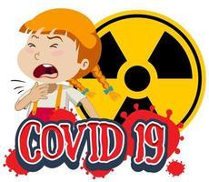 covid-19 ziek meisje hoest vector