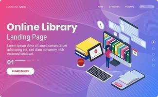 online bibliotheek bestemmingspagina sjabloon vector